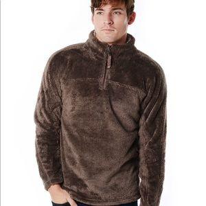 True Grit Pebble Pile Pullover 1/4 Zip Brown